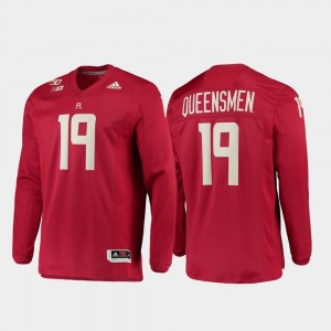 Mens Rutgers University Strategy Long Sleeve Football #19 150th Anniversary college Jersey - Scarlet