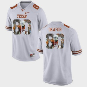 Mens Longhorns #80 Pictorial Fashion Alex Okafor college Jersey - White