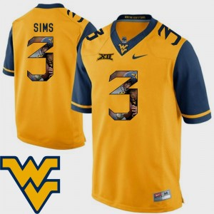 Men's #3 Charles Sims college Jersey - Gold Pictorial Fashion Football WV