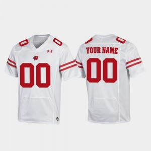 Mens Football Replica Badgers #00 college Customized Jerseys - White