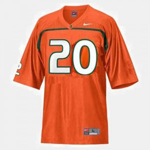 For Kids Football Miami Hurricanes #20 Ed Reed college Jersey - Orange