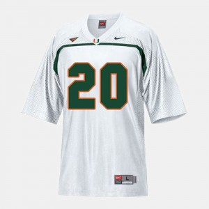 Mens #20 Football Miami Ed Reed college Jersey - White