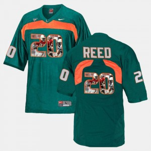 Men's Miami Player Pictorial #20 Ed Reed college Jersey - Green