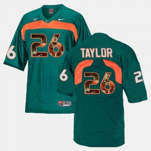 Mens #26 Miami Player Pictorial Sean Taylor college Jersey - Green
