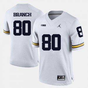 Mens #80 Football Wolverines Alan Branch college Jersey - White