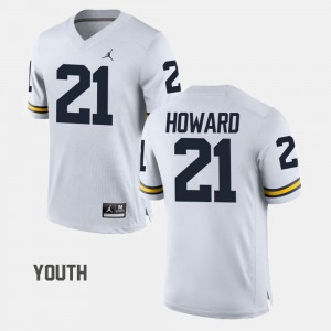 For Kids U of M #21 Football desmond Howard college Jersey - White