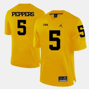 Mens #5 Football U of M Jabrill Peppers college Jersey - Yellow
