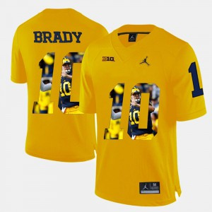 Men's #10 Player Pictorial University of Michigan Tom Brady college Jersey - Yellow