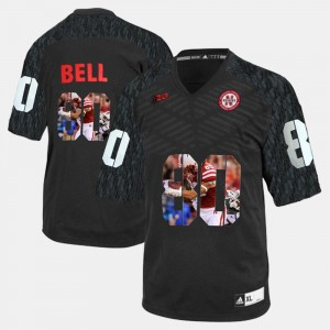Men #80 Cornhuskers Player Pictorial Kenny Bell college Jersey - Black