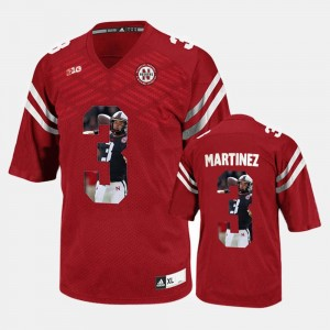 Men #3 Taylor Martinez college Jersey - Red Player Pictorial Cornhuskers