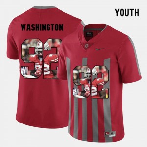 For Kids #92 Buckeyes Pictorial Fashion Adolphus Washington college Jersey - Red
