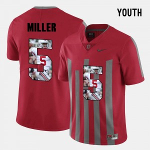 Youth #5 Ohio State Buckeye Pictorial Fashion Braxton Miller college Jersey - Red