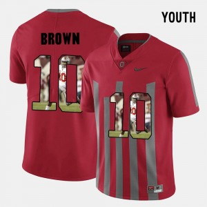 For Kids #10 Pictorial Fashion Ohio State CaCorey Brown college Jersey - Red
