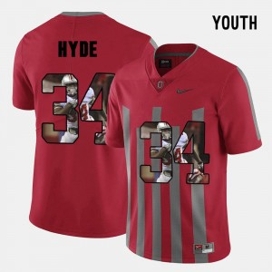 Youth Pictorial Fashion Ohio State #34 CameCarlos Hyde college Jersey - Red