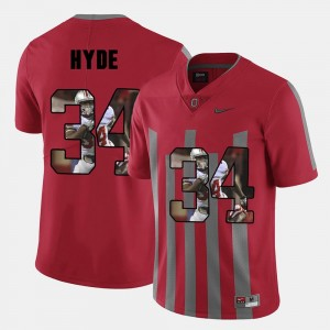 Mens Ohio State #34 Pictorial Fashion CameCarlos Hyde college Jersey - Red