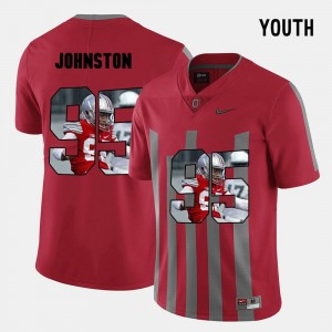 Youth(Kids) OSU Buckeyes Pictorial Fashion #95 Cameron Johnston college Jersey - Red