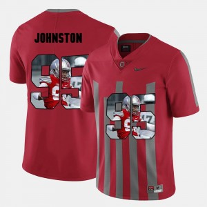Mens Ohio State Buckeye #95 Pictorial Fashion Cameron Johnston college Jersey - Red