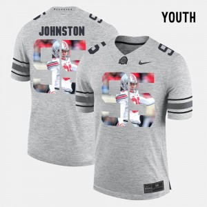 Youth(Kids) Ohio State Pictorial Gridiron Fashion #95 Pictorital Gridiron Fashion Cameron Johnston college Jersey - Gray