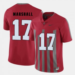 Men's Football #17 Ohio State Jalin Marshall college Jersey - Red