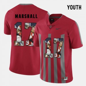 Kids #17 Jalin Marshall college Jersey - Red Pictorial Fashion OSU Buckeyes