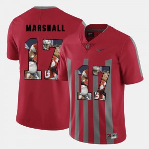 Men #17 Jalin Marshall college Jersey - Red Pictorial Fashion Ohio State