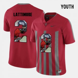 Youth #2 Pictorial Fashion Ohio State Buckeyes Marshon Lattimore college Jersey - Red