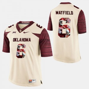 Men University Of Oklahoma Player Pictorial #6 Baker Mayfield college Jersey - White