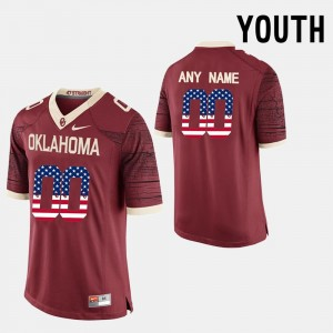 Youth US Flag Fashion #00 OU college Custom Jerseys - Red