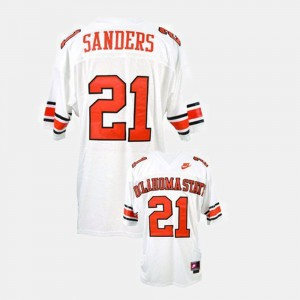 Youth #21 Barry Sanders college Jersey - White Football OSU