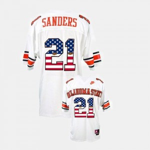 Men Throwback #21 OK State Barry Sanders college Jersey - White