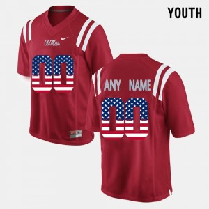 Youth Ole Miss #00 US Flag Fashion college Custom Jerseys - Red