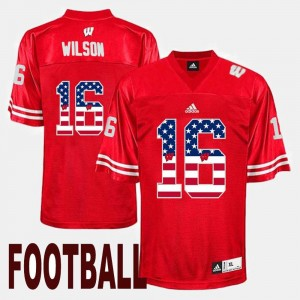Men #16 Wisconsin Badger US Flag Fashion Russell Wilson college Jersey - Red