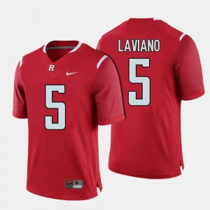 Men #5 Rutgers University Football Chris Laviano college Jersey - Red