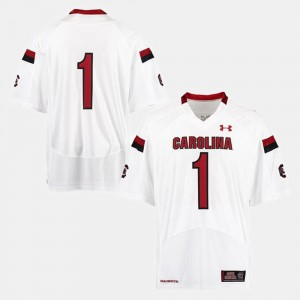 Mens USC Gamecocks #1 Football college Jersey - White