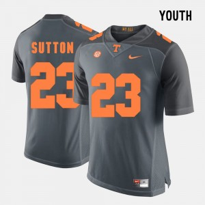Youth Tennessee Volunteers #23 Football Cameron Sutton college Jersey - Grey