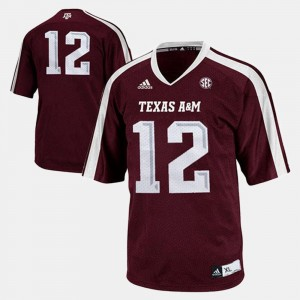 Youth Football #12 Aggie college Jersey - Burgundy