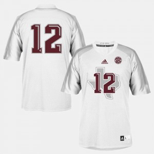 Kids #12 Football Texas A&M college Jersey - White