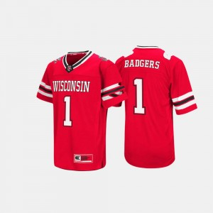 Men's Wisconsin Badgers Hail Mary II #1 college Jersey - Red