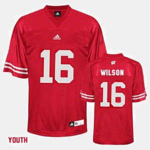 For Kids #16 University of Wisconsin Football Russell Wilson college Jersey - Red