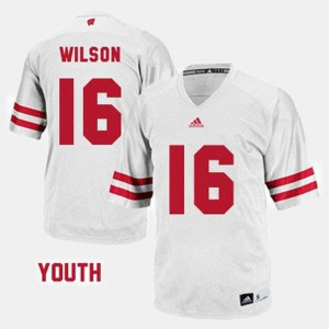 Youth Football #16 Wisconsin Russell Wilson college Jersey - White