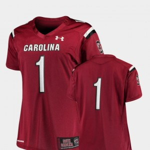 Ladies #1 USC Gamecocks Finished Replica Football college Jersey - Garnet