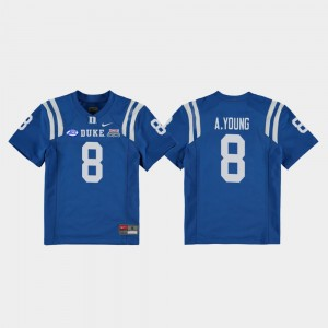 Youth(Kids) 2018 Independence Bowl Football Game #8 Blue Devils Aaron Young college Jersey - Royal