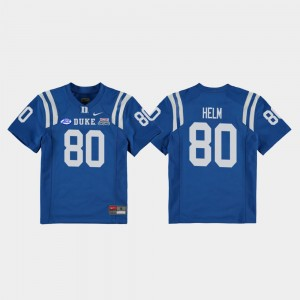 Youth(Kids) Duke #80 2018 Independence Bowl Football Game Daniel Helm college Jersey - Royal