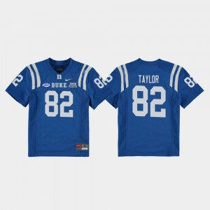 Youth Football Game #82 2018 Independence Bowl Duke Blue Devils Chris Taylor college Jersey - Royal