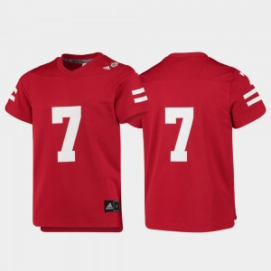 Youth #7 Cornhuskers Replica Football college Jersey - Scarlet
