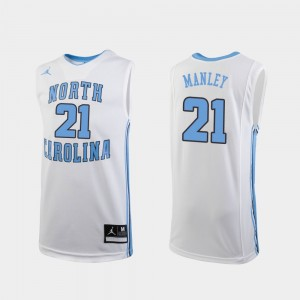 Youth(Kids) Basketball #21 UNC Tar Heels Replica Sterling Manley college Jersey - White