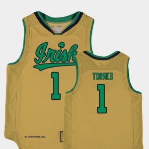 For Kids UND Replica Basketball Special Games #1 Austin Torres college Jersey - Gold