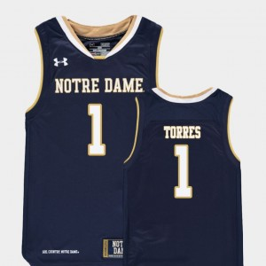 Youth #1 Replica Basketball ND Austin Torres college Jersey - Navy
