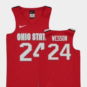 Youth(Kids) Basketball Buckeyes Replica #24 Andre Wesson college Jersey - Red