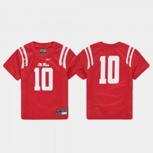Youth Ole Miss #10 Football Replica college Jersey - Red